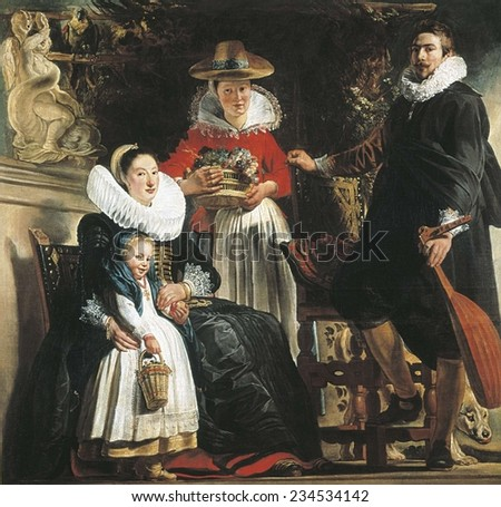 JORDAENS, Jacob (1593-1678), The Artist and His Family in a Garden, ca. 1640, Baroque art, ; Flemish art, Oil on canvas,
