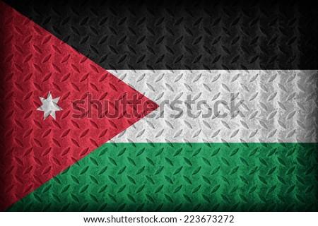 Jordan flag pattern on the diamond metal plate texture ,vintage style - stock photo