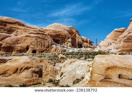 Jordan. Peter. Rock city with caves. Peter the ancient capital of the Nabataean kingdom carved into skalah.Dostoprimechatelnost Jordan. Rich in history, Peter has been included in the UNESCO list. - stock photo