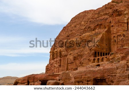 Jordan, Petra, a royal tomb in the high  rocks - stock photo