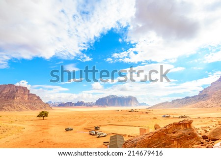 Jordanian desert in Wadi Rum, Jordan viewed from Lawrence's Spring.  - stock photo