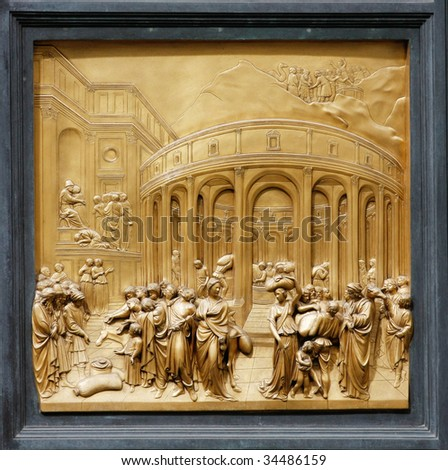 """Joseph by Ghiberti. Detail of the panel on the doors (""""Gates of Paradise"""") of the Duomo Baptistry, Florence, Italy. - stock photo"""