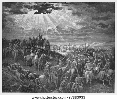 "Joshua praying for the sun to ""stand still""  - Picture from The Holy Scriptures, Old and New Testaments books collection published in 1885, Stuttgart-Germany. Drawings by Gustave Dore. - stock photo"