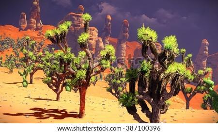 Joshua trees on desert - stock photo