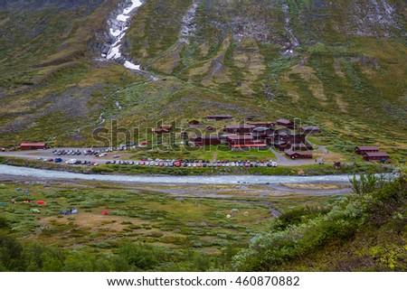 JOTUNHEIMEN, NORWAY-JULY 9: Camp July 9, 2016 in Jotunheimen, Norway. Camp in the norway mountains. - stock photo