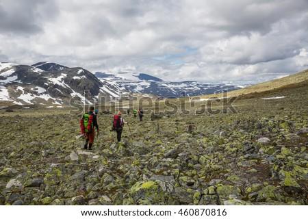 JOTUNHEIMEN, NORWAY-JULY 8: Trackers July 8, 2016 in Jotunheimen, Norway. Trackers in the mountains. - stock photo