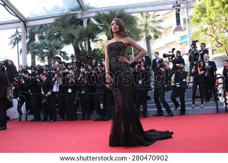 Jourdan Dunn attends the 'The Little Prince' premiere during the 68th annual Cannes Film Festival on May 22, 2015 in Cannes, France. - stock photo
