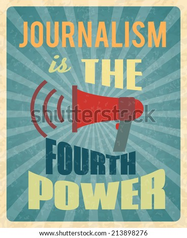Journalism press news reporter profession poster with red megaphone and text  illustration - stock photo