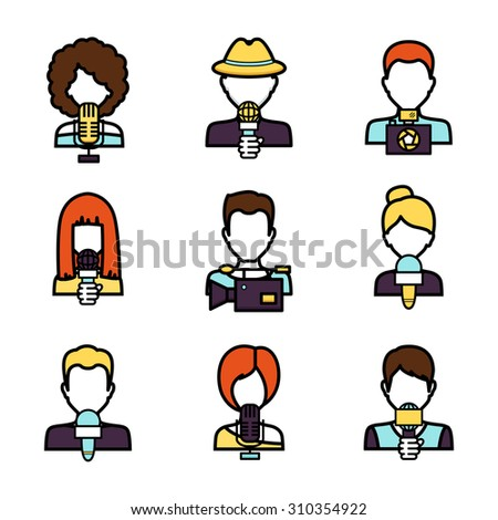 Journalist avatar mass media news reporter characters set isolated  illustration