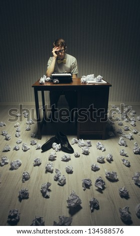 Journalist looking for a good idea for her novel - stock photo