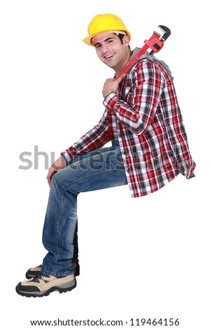 Jovial construction worker - stock photo