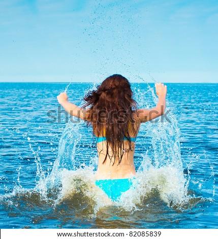 Joy Happiness Swimming - stock photo