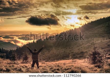 Joy in the misty mountains of Ukraine - stock photo