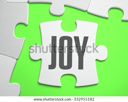 Joy - Jigsaw Puzzle with Missing Pieces. Bright Green Background. Close-up. 3d Illustration. - stock photo