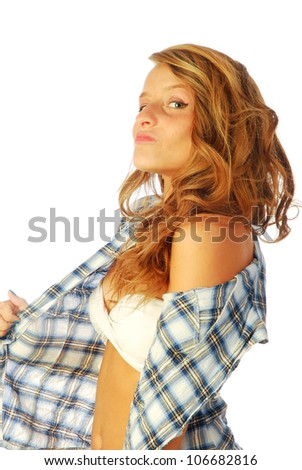 Joy poached - A lively and cheerful girl who wears a shirt over the swimsuit 243 - stock photo