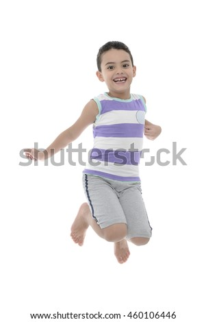 Joyful Active Boy Jumping With Joy Isolated on White Background