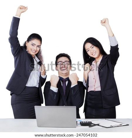 Joyful business people in formalwear celebrating their achievement, isolated on white - stock photo