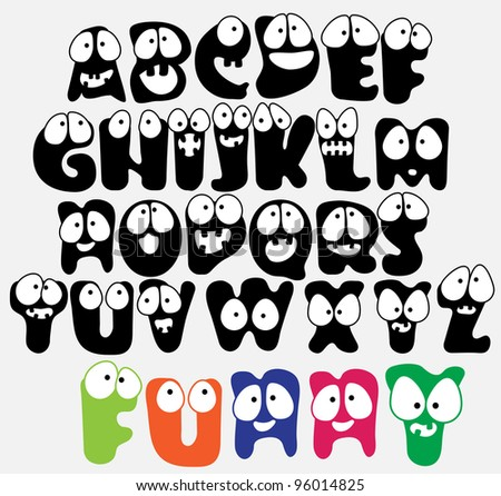 Joyful Cartoon font - from A to Z, funny capital letters - stock photo
