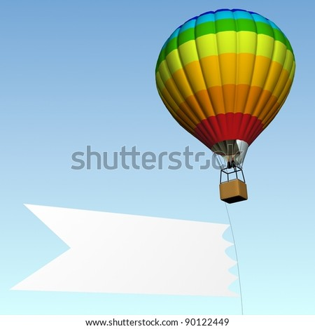 Joyful colorful hot air balloon with empty white banner - stock photo