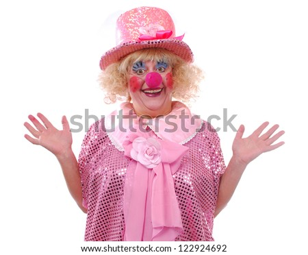 Joyful female clown costume on a white background - stock photo