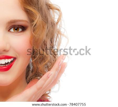 Joyful girl, isolated on white background. - stock photo