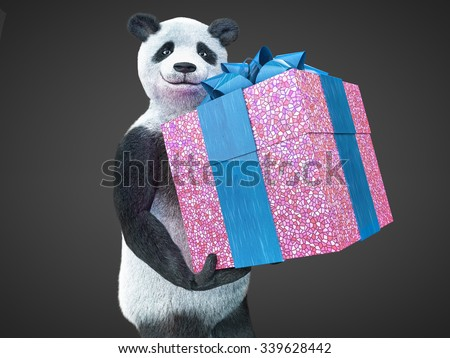 joyful kind smiling panda bear holds bright purple gift box with big beautiful blue bow. furry animal protagonist character demonstrates surprise in his paws isolated on dark background buy picture - stock photo