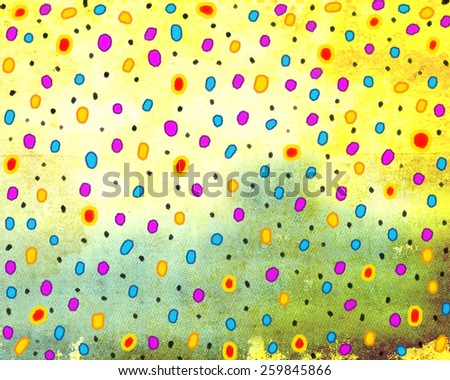 Joyful light yellow background painted canvas with colorful spots