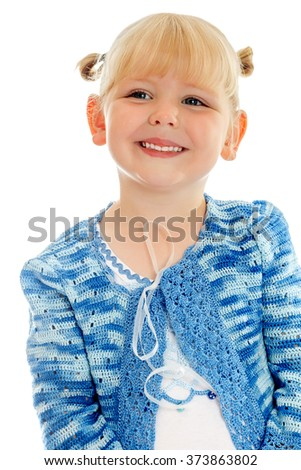 Joyful little girl smiles sweetly. Closeup - Isolated on white background - stock photo