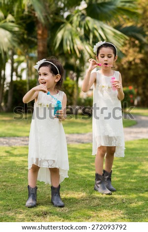 Joyful little sisters blowing soap bubbles outdoors