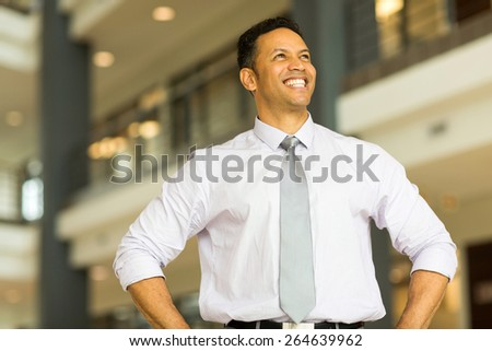 joyful middle aged business man daydreaming - stock photo