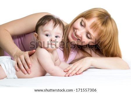 joyful mother with her baby infant - stock photo