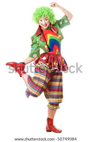 Joyful posing female clown. Isolated on white - stock photo