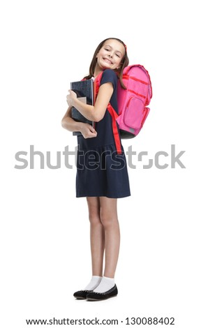 Joyful schoolgirl with the briefcase is happy to study, isolated, white background - stock photo