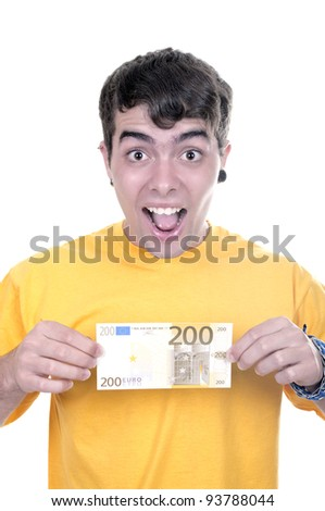 Joyful teenager with 200â?¬  bills on white background