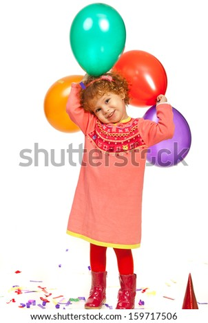Joyful toddler girl with balloons isolated on white background - stock photo
