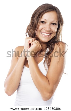Joyful woman on white background - stock photo