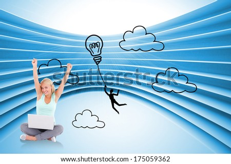 Joyful woman with a notebook against light bulb graphic on futuristic blue background - stock photo