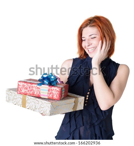 Joyful woman with boxes gifts on a white background