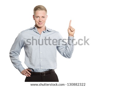 Joyous confident business person pointing finger up at empty space for text or advertising, isolated on white background. - stock photo