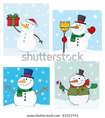 Joyous Snowman.Raster Collection.Vector version is also available - stock photo