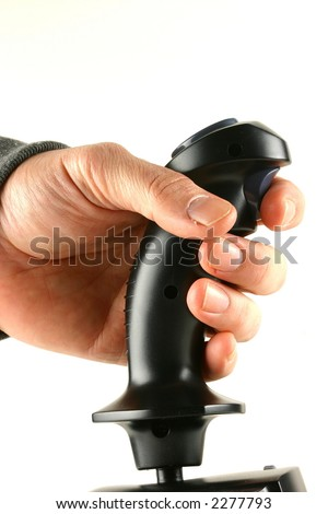 Joystick with hand operating controls - stock photo