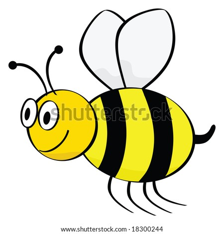 Jpeg cartoon illustration of a bee flying. For vector version, please see my portfolio. - stock photo