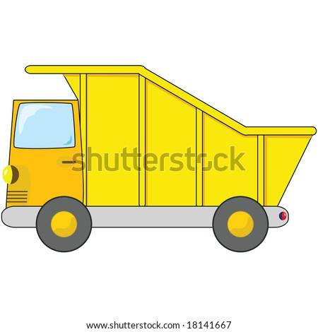 Jpeg cartoon illustration of an orange and yellow dump truck. For vector version, please see my portfolio.