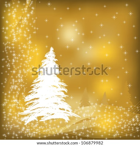 Jpeg christmas card illustration in gold and white - stock photo