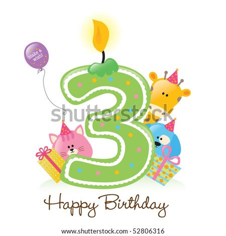 JPEG Happy Birthday Candle and Animals isolated over white - stock photo