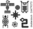 Jpeg iconic symbols in southwestern design. - stock vector