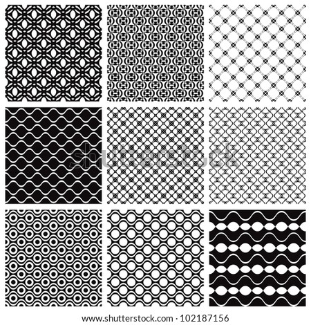 Jpeg illustration from vector file: Geometric seamless patterns set, backgrounds collection.