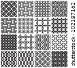 Jpeg illustration from vector file: Set of black and white geometric seamless patterns. Netting metal backgrounds collection. - stock vector