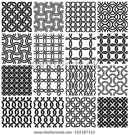 Jpeg illustration from vector file: Set of black and white geometric seamless patterns. Netting metal backgrounds collection. - stock photo