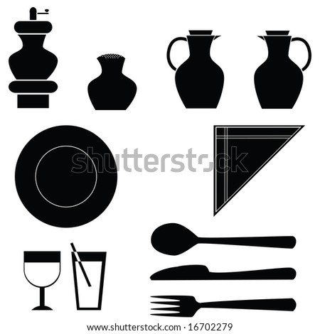 Jpeg illustration icons of different items for a table: pepper grinder, salt shaker, oil dispensers, plate, fork, knife, spoon, glasses and napkins. For vector version, please see my portfolio. - stock photo